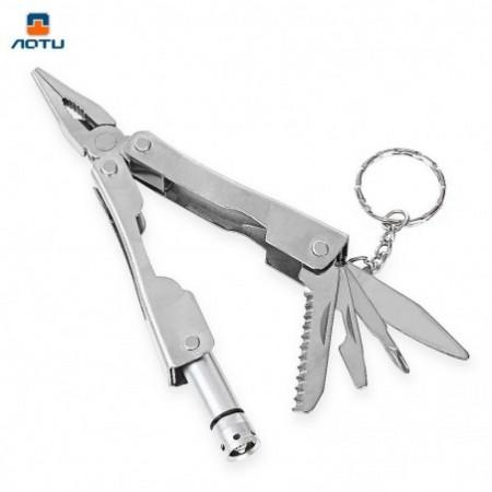 AOTU Multi-function Folding Pliers LED Light Practical Outdoor Survival Tool