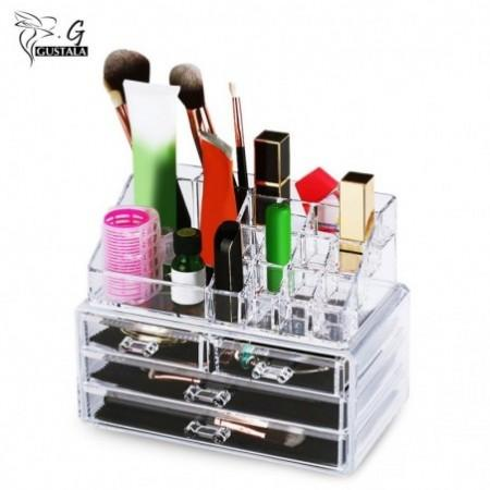 Gustala 2pcs Acrylic Makeup Organizer Jewelry Cosmetics Storage Display Boxes