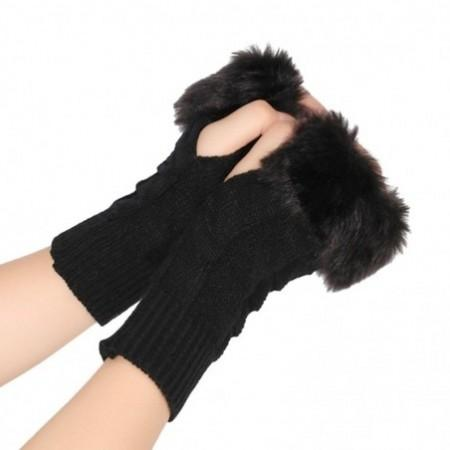 Faux Fur Furry Knit Women Stretchy Half-finger Arm Warmer Gloves
