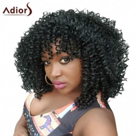 Adiors Hair Medium Afro Curly Side Bang Synthetic Wig