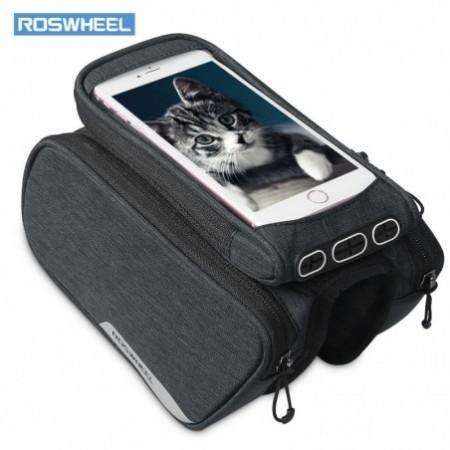 ROSWHEEL 121462 Bike Frame Bag Cycling Top Tube Pannier with Cell Phone Holder