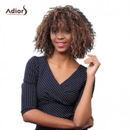 Adiors Short Oblique Bang Colormix Afro Curly Synthetic Wig