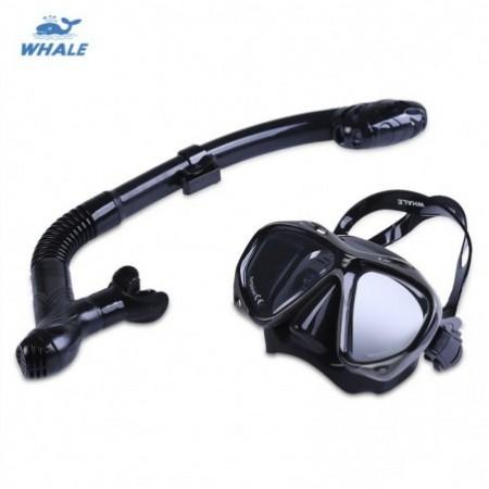 WHALE Professional Diving Water Sports Training Silicone Mask Snorkel Glasses Set