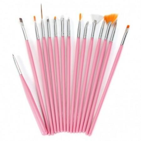 15Pcs Nail Art Design Painting Tool Drawing Pen Wood Handle Brush Set Kit Nail DIY Accessory