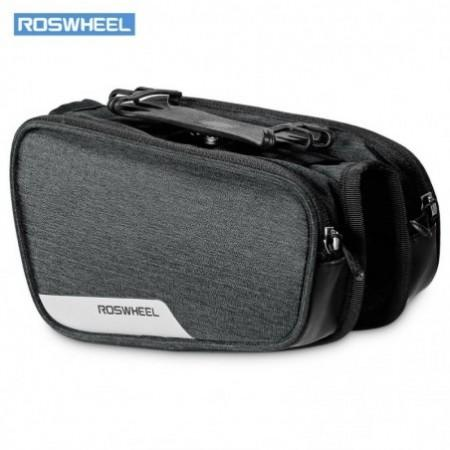 ROSWHEEL 121461 Bicycle Top Tube Pannier Bike Frame Bag with Phone Mount Holder