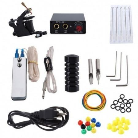 Tattoo Machine Kit 8 Wrap Coils Gun Needles Power Supply