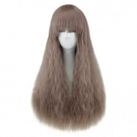 Full Bangs Long Heat Resistant Natural Half Curly Hair Wig