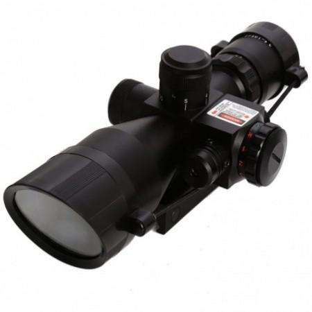 Beileshi 2.5 - 10 x 40 Tactical Riflescope with Red Laser Dual Illuminated Mil-dot W / Rail Mount