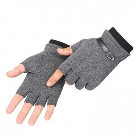 Winter Men Non-falling Warm Half Finger Velvet Thickening Gloves