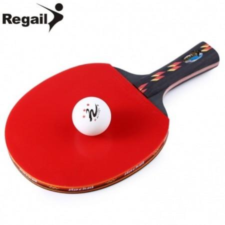REGAIL D003 Table Tennis Ping Pong Racket One Shake-hand Grip Bat Paddle Ball