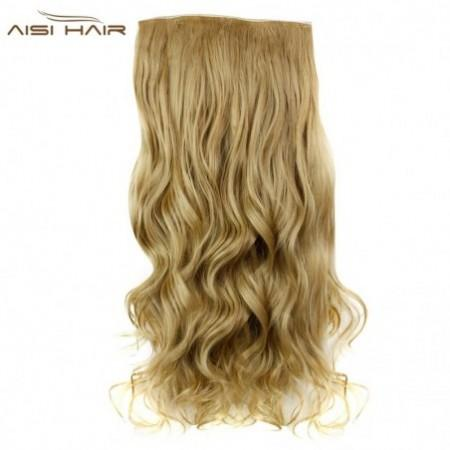 AISI HAIR Fashion Long Curly Synthetic 5 Clips in Wig Extensions