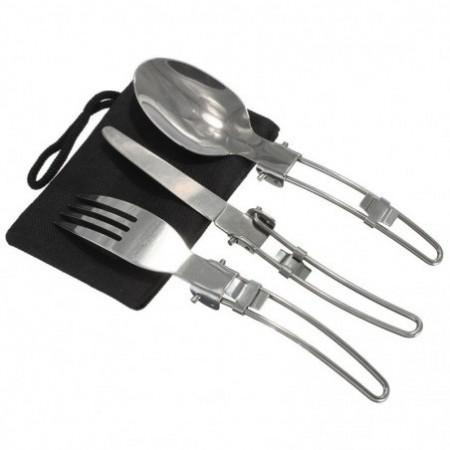 3 Pcs Portable Outdoor Camping Travel Picnic Foldable Stainless Steel Cutlery Spoon Fork Knife Tableware