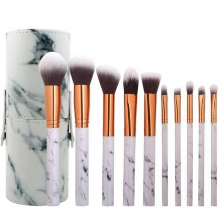 10 Marbled Makeup Brush Set with Brush Tube
