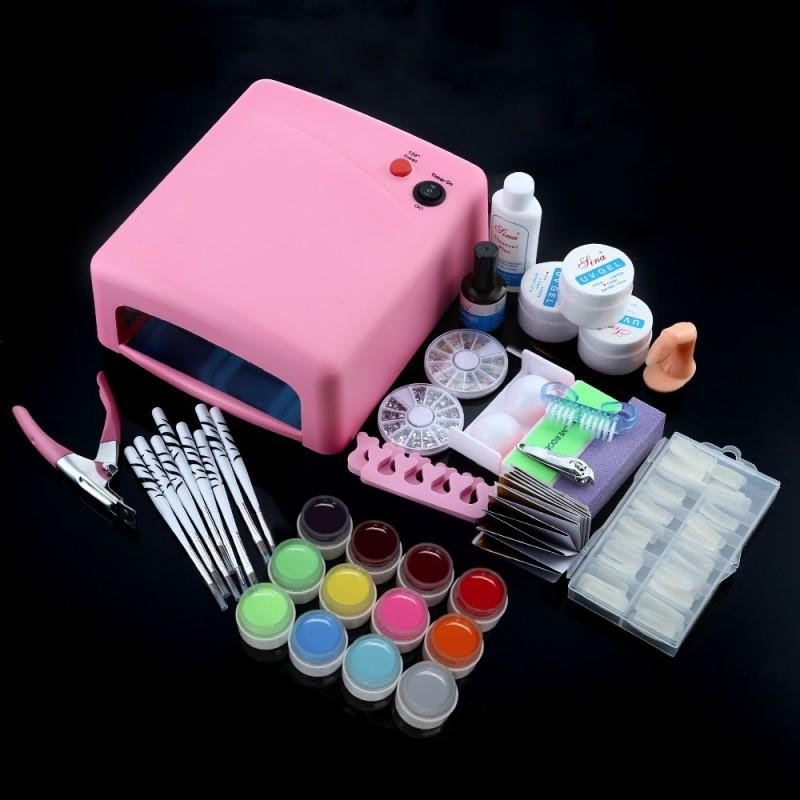 Professional 36W White Cure Lamp Dryer UV Gel Nail Tools Full Set Kit
