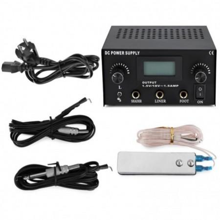 Stable Tattoo Power Supply Digital LCD Dual Machine Foot Pedal Switch 2 Clip Cords