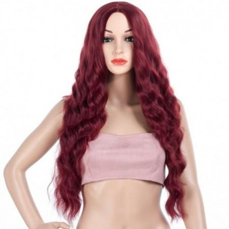 Central Parting Hair Style Corn Perm Big Wave Long Wig