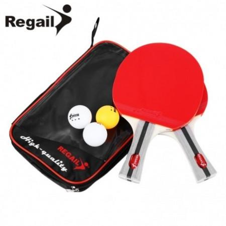 REGAIL 8020 Table Tennis Ping Pong Racket Two Shake-hand grip Bat Paddle Three Balls