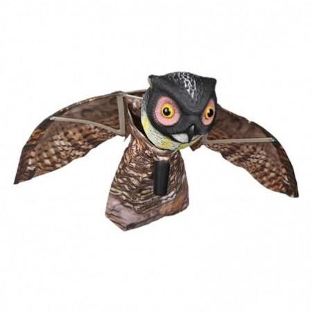 Outdoor Fake Owl Bird with Wings Hunting Bait Shooting Yard Decoy