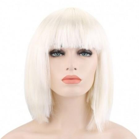 Bob Full Bangs Short Straight Off-white Wigs for Street Shooting Cosplay Masquerade