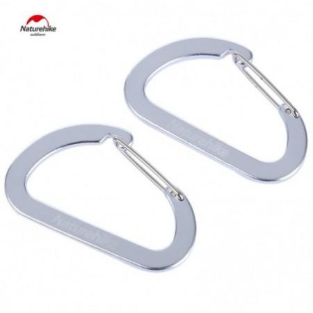 Naturehike 2pcs Outdoor Climbing Aluminum Alloy Multi-functional Fast Hang D-shape Carabiner Buckle