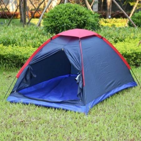 Two Person Outdoor Camping Tent Kit Fiberglass Pole Water Resistance with Carry Bag for Hiking Traveling