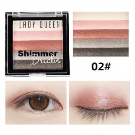 LADY QUEEN 5 Colors Eye Shadow Waterproof Powder Metallic Eyeshadow Palette