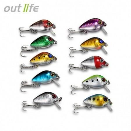 Outlife DW1082 10PCS Fishing Lures ABS Mini Minnow Baits with Hooks Box