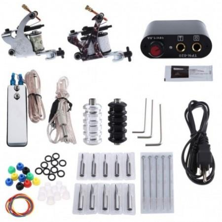 Tattoo Kit 2 Machine Gun Pigment Tips Power Supply Set 20 Needle
