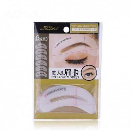 Lameila Different Eyebrow Stencils Reusable Silicone Template Makeup Tool 6PCS