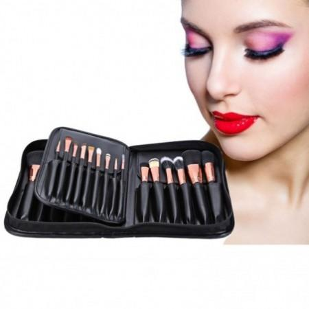 Professional 29pcs Animal Hair Cosmetic Makeup Brushes Tool Set with Black Leather Cosmetic Case