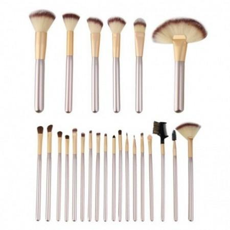 TODO 24pcs Professional Champagne Color Makeup Brushes Classic Wood Handle