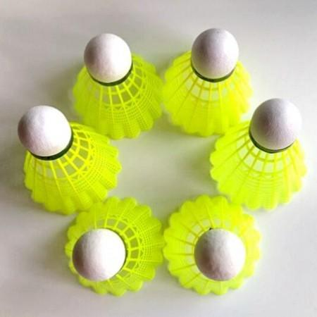 6pcs Cork Base Yellow Nylon Badminton Ball Game Shuttlecock