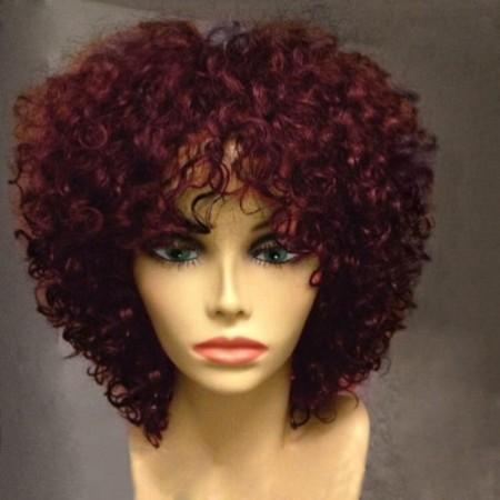 Short Side Bang Shaggy Afro Curly Synthetic Wig