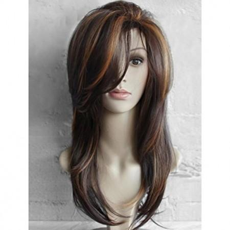 Women Long Side Bang Highlighted Natural Straight Synthetic Wig
