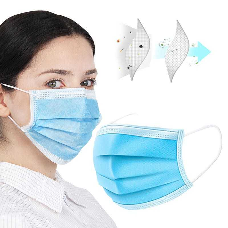Disposable Anti-Dust Breathable 3-Layered Masks - Blue