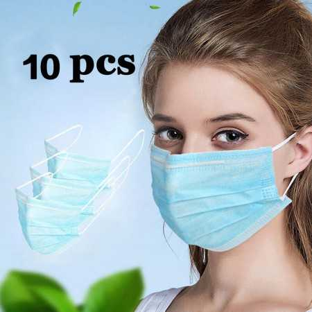 Disposable Anti-Dust Breathable 3-Layered Masks - 10PCS