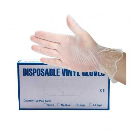 100Pcs Disposable Transparent PVC Gloves Transparent Household Clean Protective Gloves Clear One-off Plastic Glove