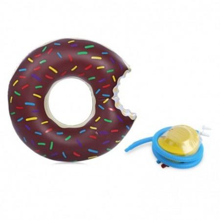 Adult Inflatable Gigantic Doughnut Swimming Floating Row Pool Toy with Pump for Water Game