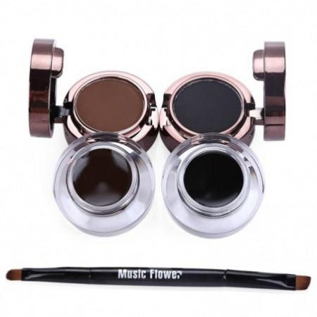 Fashion Magic Professional Eyebrow Powder Waterproof Eyeliner Gel Set Brush Mirror Makeup