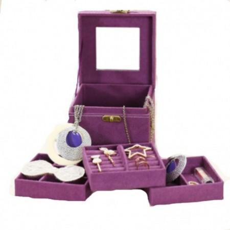 Three Layers Flannel Jewelry Display Portable Cosmetic Box