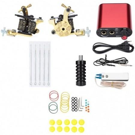 Pro Complete Tattoo Kit Machine Shader Gun Power Supply Needle Equipment