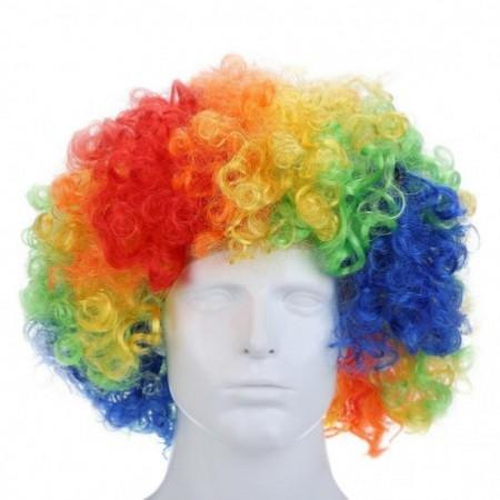 Curly Afro Wigs Multi-color Party Clown Funky Disco Men Women Fancy Dress