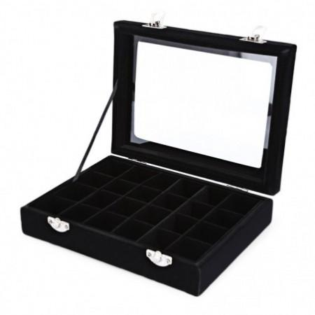 Portable 24 Grid High Grade Villus Jewelry Pearl Storage Box