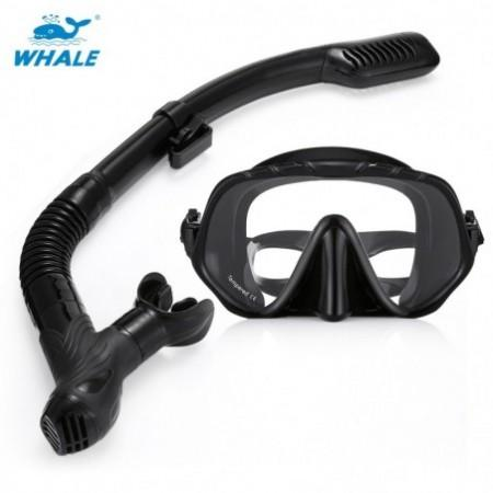 WHALE MK1000 + SK900 Professional Diving Snorkeling Silicone Mask Snorkel Glasses Set