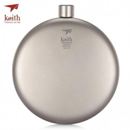 Keith 150ml Pure Titanium Liquor Hip Flask Funnel Portable Outdoor Wine Pot Bottle