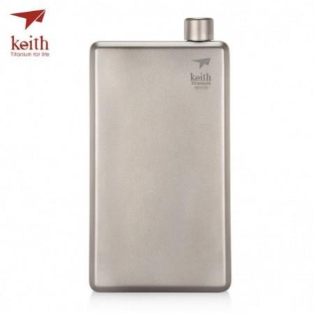 Keith 120ml Pure Titanium Liquor Hip Flask Funnel Portable Outdoor Wine Bottle