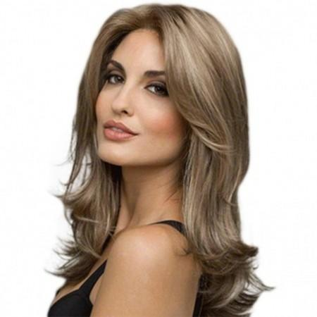 Fashionable Central Parting Hair Style Long Wave Wig