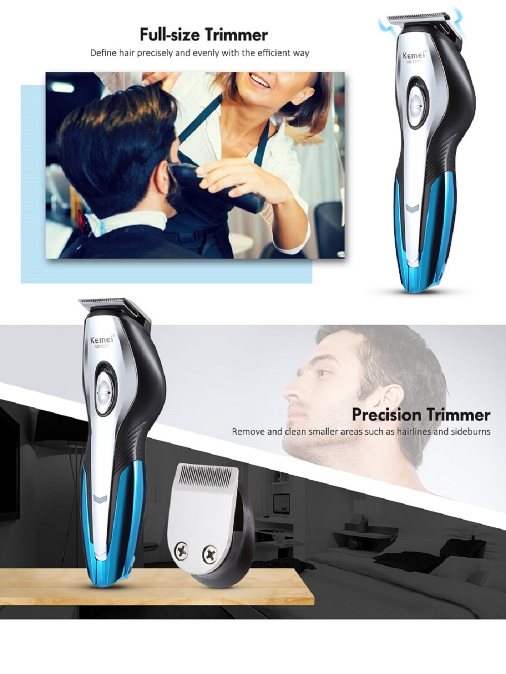 Kemei KM-5031 11 in 1 Hair Clipper Shaver Nose / Ear Trimmer Grooming Kit